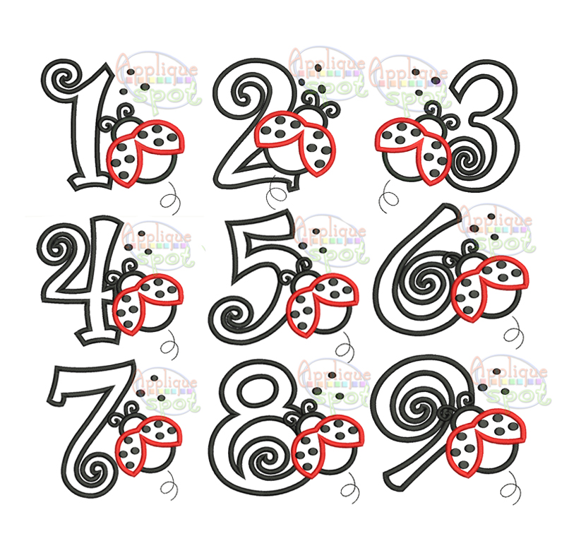 ladybug birthday numbers set 1 to 9  u2013 applique spot