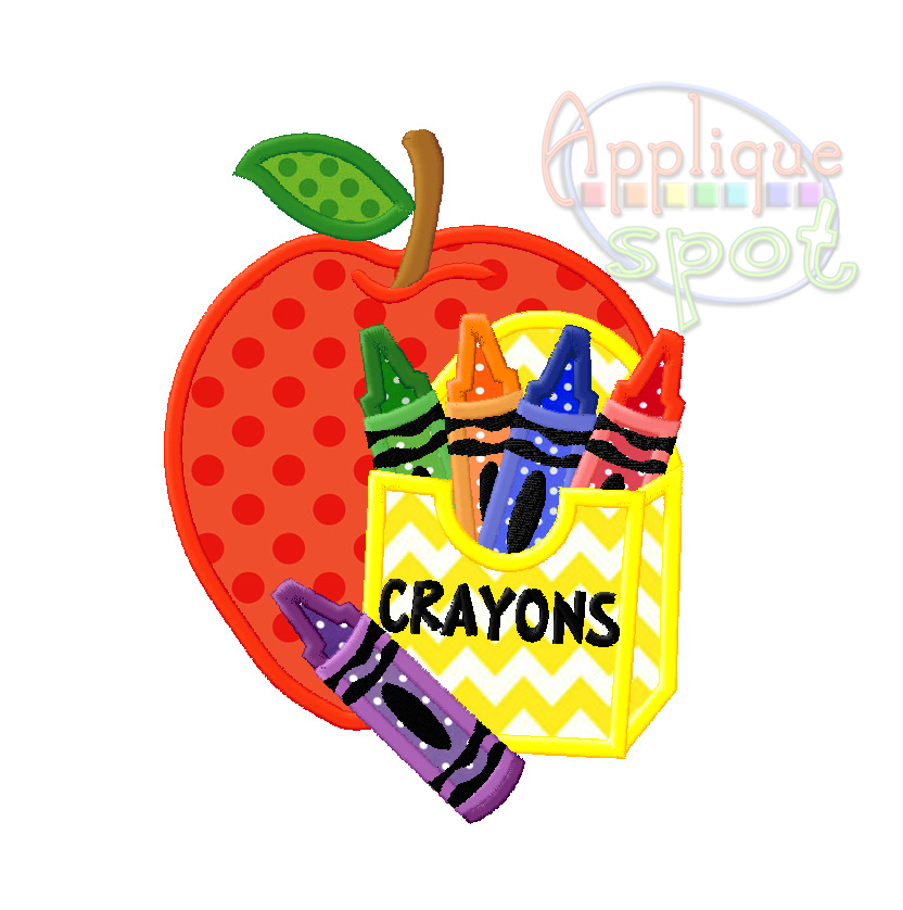 apple with crayons applique spot. Black Bedroom Furniture Sets. Home Design Ideas