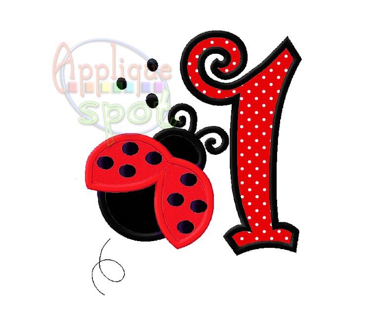 Ladybug st birthday applique spot