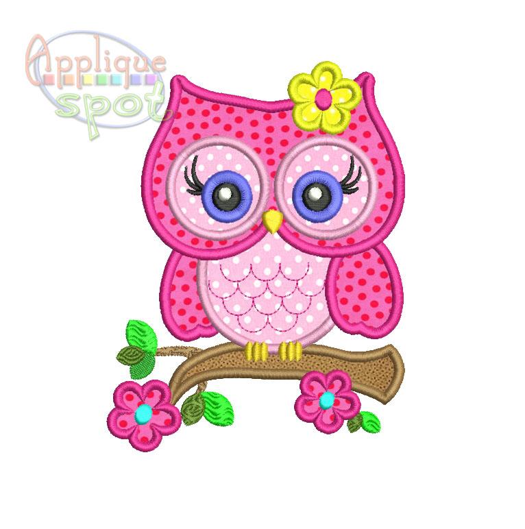 Cute Girly Owl Applique Spot